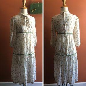AVON ILGWU 1963-74 3/4 Sleeve Floral Dress S